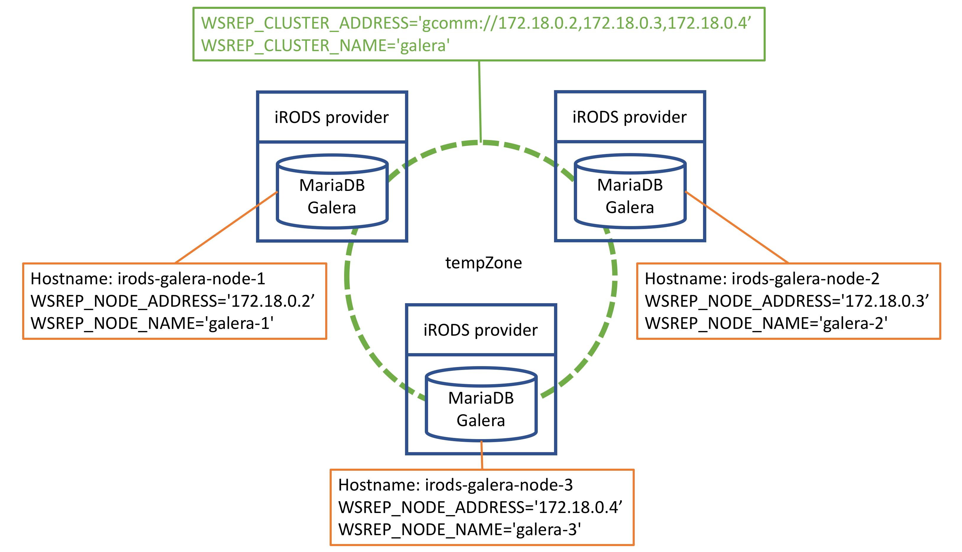 LAN   local machine  iRODS   MariaDB Galera cluster