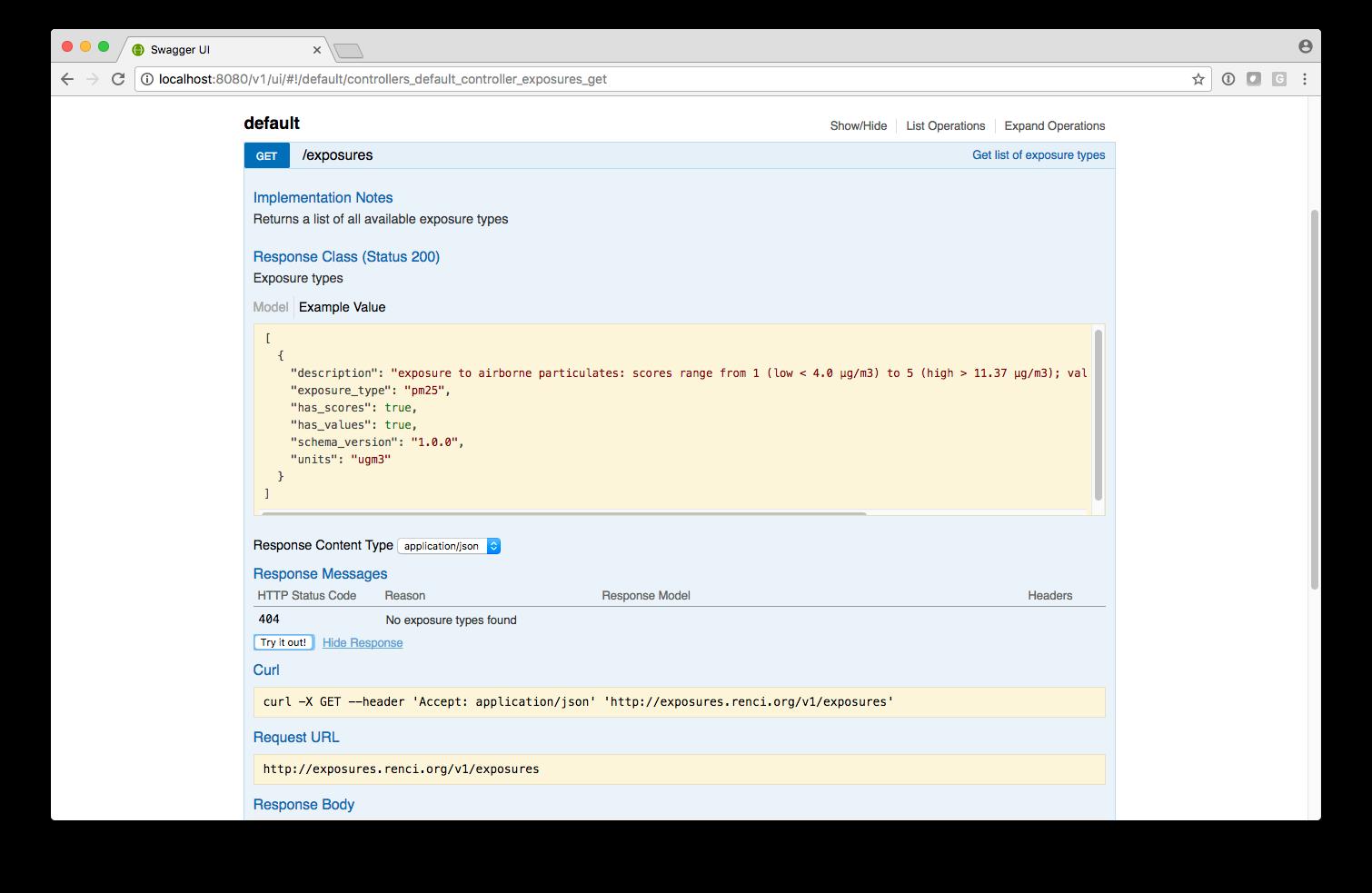 Exposures API stub