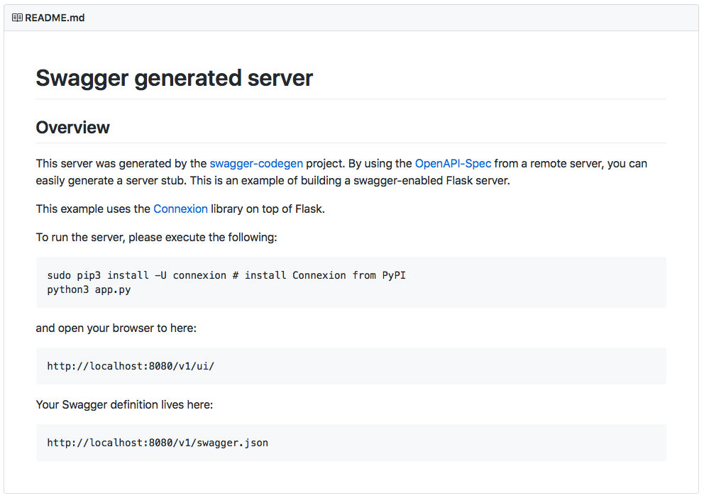 Swagger generated server